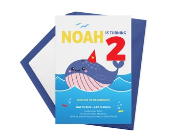 Whale printable birthday invitations, First birthday invitations, Pool party invitations, Under the sea invitations, Kids birthday invites,
