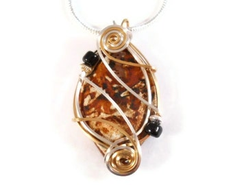 Wire Wrapped Stone Pendant Gold Filled and Sterling Silver Necklace Unusual Unique Tibetan Agate