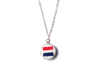 Genuine silver necklace with Dutch flag. Silver charm necklace wedding gift fine silver chain. Netherlands flag necklace