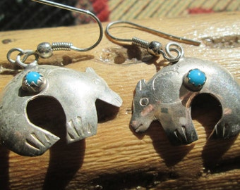 Turquoise and Sterling Spirit Bear Dangle Earrings