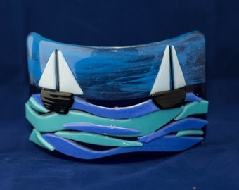 Fused Glass Sailing Boat Sea Ocean Wave Panel