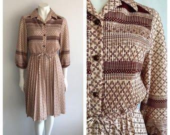 Vintage 1970's Floral Pleated Midi Dress