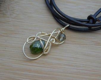 Green Peridot Drop Smokey Quartz Bead Pendant Wire Wrapped Gold Wire Parawire Pendant Wire Wrapped Jewelry Handmade Wire Wrap