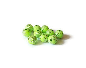 Lime green round beads 8mm silver dotted