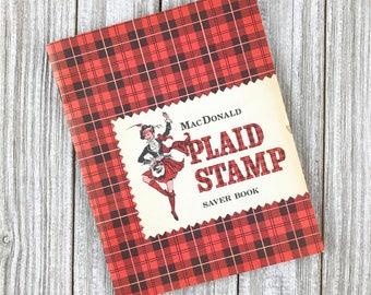 Vintage 1960s FILLED Plaid Stamp Booklet