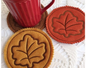 Machine Embroidery Fall Maple Leaf Coaster - Machine Embroidery Instant Download Design