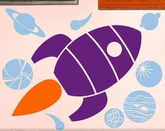 Retro Rocket Ship Decal, Outer Space Decor, Nursery Decor, Spaceship, Planets, Comets Moon, Rocket Ship Decor, Kids Room Vinyl Wall Decal
