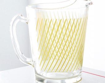 Clear Pitcher with Yellow Stripes & Two Tumblers