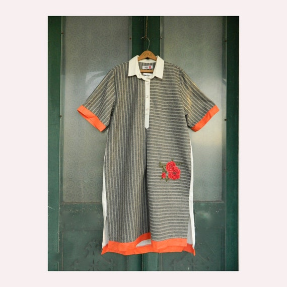 Ark Istanbul Short-Sleeve Dress M/L Gray Stripe Linen with Cream Orange Red NWT