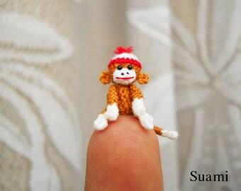 Amigurumi Sock Monkey 0.8 Inch - Tiny Crochet Doll Miniature Sock Monkeys - Made to Order