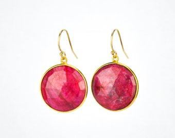 Ruby earrings, Gold earrings, Bridesmaid earrings, Gold Framed Stone Gift For Her Round Stone earrings July birthstone earrings Mothers day