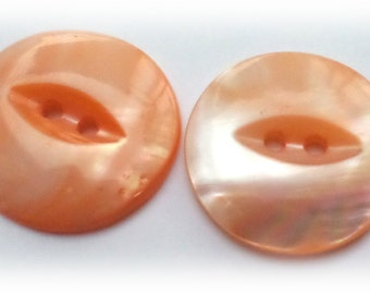2 Peach Vintage Pearl Fish Eye Cat Eye Buttons 7/8 Inch from Muscatine Iowa