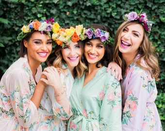 Premium Bridesmaids Robes - Dreamy Angel Song Pattern - Soft Rayon Fabric - Better Design - Perfect for getting ready on your big day