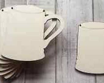 pack of 10 unpainted laser cut chunky mugs cups with a choice of one hole. two holes, no holes or slits - also available in miniature