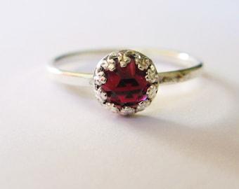 Rose cut Garnet ring-6mm sterling silver garnet ring-thin band silver ring with natural garnet