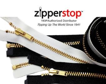 "YKK® Brass Metal Zippers 3"" to 36"" YKK #3 Jacket Zipper,Light Weight Separating (Options Length,Color )ZipperStop Wholesale Distributor YKK®"