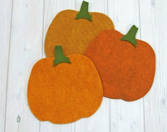 Felt Pumpkins - Felt Shapes - Wool Blend Felt - Fall Themed - Halloween - Craft Supplies - Felt Applique