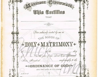 1900's Antique MARRIAGE WEDDING CERTIFICATE - Digital Download for Gift, Scrapbooking, Altered Art, Mixed Media,& Iron-on Transfers