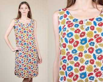 60s Floral House Dress - Medium // Vintage Shift Sleeveless Pocket Mini