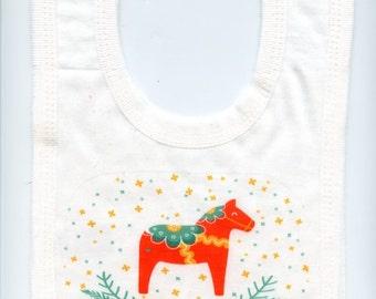 Scandinavian Baby Bib ~ Swedish Dala Horse or Swedish Princess