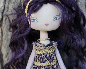 Romantic Princess doll, cloth doll, purple and gold dress