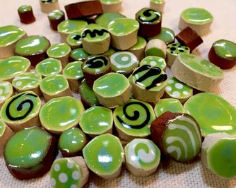 Green Handmade Ceramic Mosaic Tile Variety Pack