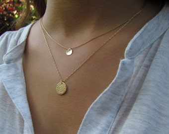 Disc Necklace, Simple Gold Necklace, Gold Disc Necklace, Hammered Gold Disc Necklace