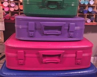 vintage painted suitcases luggage travel stack of four in your colors or these as shown