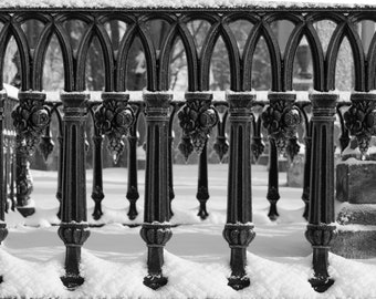 Wrought Iron In The Snow, Metal Design, Wall Art, Fine Art Photography, Abstract Art.