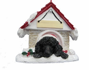 """Black Poodle Christmas Ornament with Magnetic back, personalized with your Dog's Name.Hand Painted with a brush.Measures 3"""" by 3"""""""