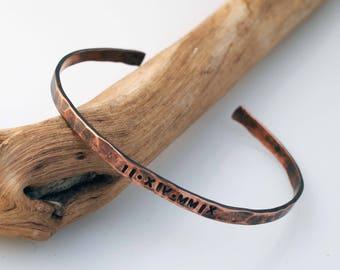 Thin copper bracelet, Roman Numeral, 7th Anniversary Gift, Oxidized Copper Cuff, Copper Anniversary