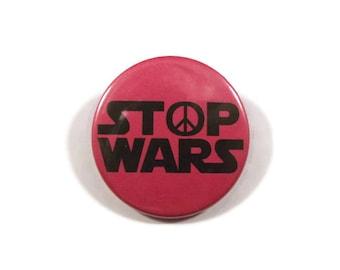 "Stop Wars button badge or fridge magnet 38mm diameter (1.5"")"