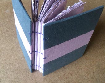 Black and purple journal, handmade paper journal, sketch book, travel journal, guest book, recycled paper, homemade paper, textured paper