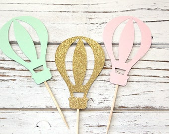 Hot Air Balloon Cupcake Toppers, Pink, mint, gold glitter - Set of 12