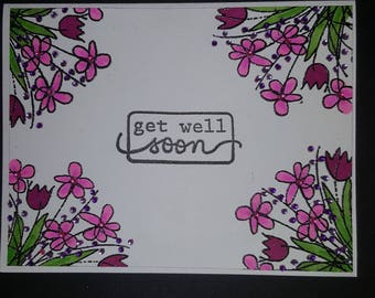 Get well soon floral hand stamped card