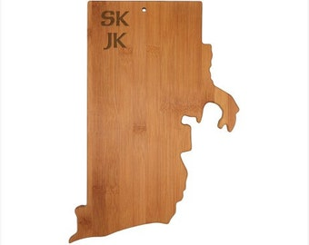 Engraved Rhode Island Cutting Board - Rhode Island Shaped Bamboo Board Custom Engraved - Wedding Gift, Couples Gift, Housewarming Gift