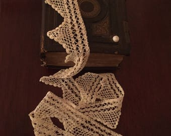 Crocheted Ivory Cotton Lace