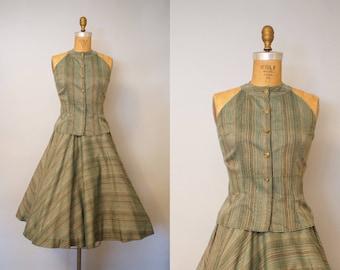 Raissa Masket Skirt and Blouse Set / 1950s Dress