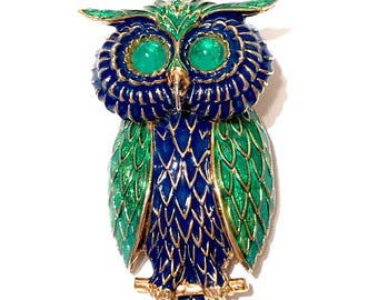 Ciner Owl Pendant Brooch  Figural Bird  Mid Century  Blue And Green Enamel  Cabochon Eyes  Gold Plated  Signed  1960s  Vintage Gift For Her