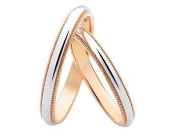 14k Gold milgrain wedding bands. Gold wedding bands. Gold wedding rings. Elegant wedding bands.