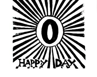 "o happy day linoleum block print - 9"" x 12"" wall art"