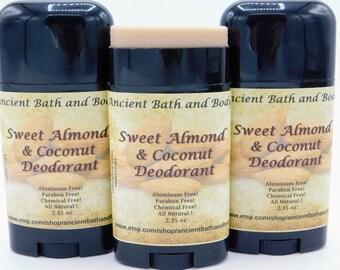 Sweet Almond & Coconut Deodorant, Natural Deodorant, Aluminum Free Deodorant, Gluten Free