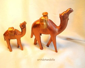 Wooden handcrafted camel made of olive wood in Bethlehem, hand painted by me.