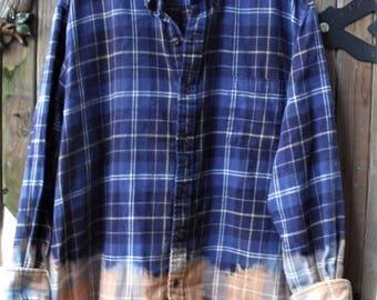 Half Full Flannels/ Funky Flannel Shirt/ Altered Flannels/ Farmhouse Chic/ Chic and Shabby/ Size 2X Flannels/ Shabbyfab Funwear