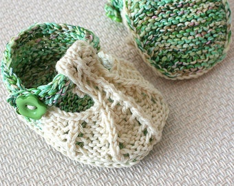 Knitting Pattern (PDF file)  Little Beads Baby Shoes (sizes 0-3/3-6/6-9/9-12 months)