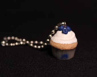 Blueberry Delight Miniature Cupcake Charm Keychain/Necklace