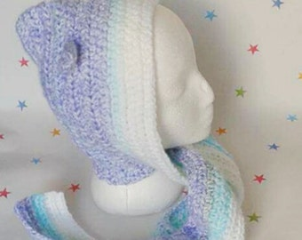 Crochet hood, winter hood, children's hat, hat with ears, kids accessory, autumn fashion, kids fashion, hooded hat, attached scarf,