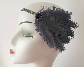 Curled Grey Feather Fascinator Hair Clip Headband Gatsby Party Wedding Head Dress 1920's