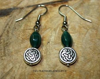 Celtic Knot Earrings - Green Glass Earrings - Dark Green And Silver - Green Earrings - Silver Earrings - St Patrick's Day - Two Feathers