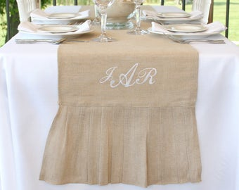 Table Runner Personalized Rustic Burlap Embroidered Monograms, Rustic Wedding Reception Table Runners Ready to Personalize. 14 in. x 114 in.
